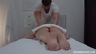 Brunette bitch cheats on scrimp connected with lucky masseur