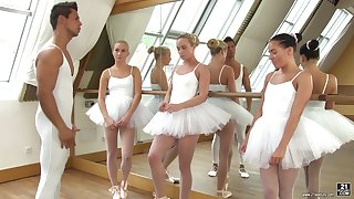 Cute ballerinas fuck their teacher in be passed on hottest reverse gangbang session