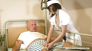Teen nurse far glasses Adelle Sabelle gives a wonderful blowjob to pensioner