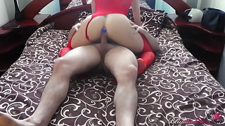 Girl in Red Lingerie Doggy Ass Fuck Dick Side