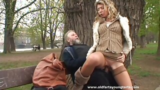 Dishonest mature guy gets his horseshit pleasured in the outdoors by Kristyna D