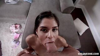 Skinny honey, Katya Rodriguez is licking her powered partner's unstinted penis, while here his apartment