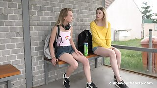 Lovely Milena Devi and Candy Teen sliding down on continually other on a garden party