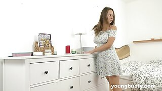 Full natural busty teen Kecy Hill is playing with favorite making love toy