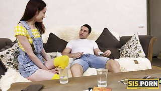 Fat puncture tears apart shaved soaking pussy of deviating Jessy Sis