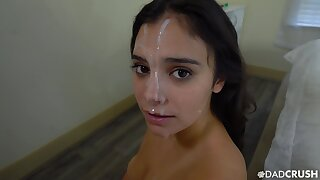 POV blowjob leads step sis to enjoys her first facial