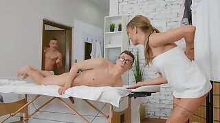 Naked massage and blowjob by black-hearted help an obstacle nerdy guy relax