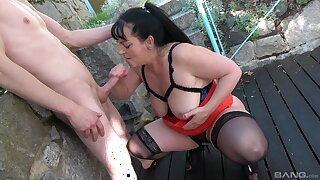 Of age slut Ivana gets their way pleasure knockers pounded outside