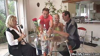 His old parents fuck teen at her birthday