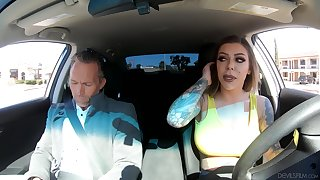 Inked bombshell slut Karma RX gets cum on her huge fake tits