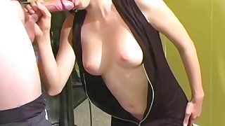 Amateur masturbates before getting fucked and sprayed with cum on tits