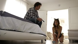 Naughty teen with cat ears Kristen Scott does whatever she is told