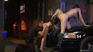 Inked babes in boots Chayse Evans and Haley Cummings in a threesome