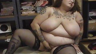 Mature tattooed brunette BBW Goddess masturbates solo with toys