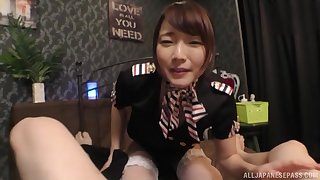 Japanese babe in a miniskirt Natsuki Minami missionary style fucked