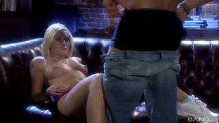 Blonde teen babe Kylie Reese sucks balls deep and gets a hard fuck
