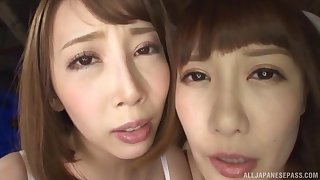Naughty Asian teen in fishnets Kisaki Aya shares a hard big cock