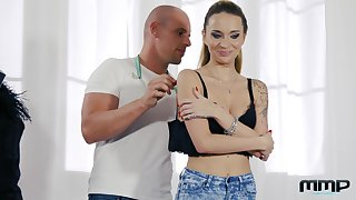 Tattooed slut Angel Piaff double penetrated and gets her holes creamed