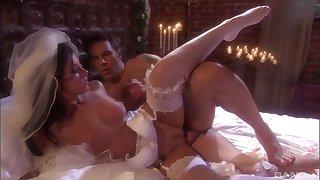 Fresh bride India Summer gets a hardcore first wedding night sex
