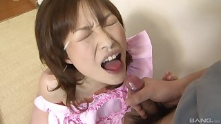 Rough pussy fuck and deep throat with a cum shot for Yukina Aoyama