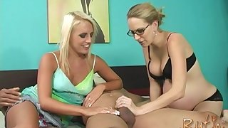Pregnant blonde Jacky Joy shares a cock with Ruth Blackwell