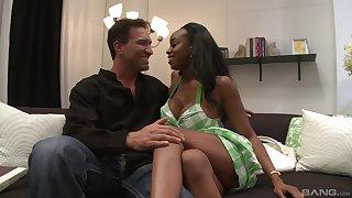 Huge tits of ebony MILF Sandi Jackmon get covered in loads of cum