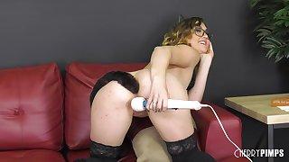 Nerdy blonde teen Kat Monroe masturbates with a cat tail up her ass