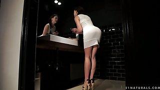 Vivid slender leggy all alone gal Tina Kay is happy to masturbate herself