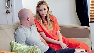 Nasty unfocused Haley Reed gets her pussy and mouth rammed by one bald headed dude