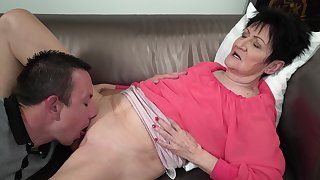 Granny feels young nephew's dick stimulating her in pleasant modes