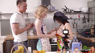 Team a few in the works girls in aprons swallow a big dick covered in whipped cream and get fucked